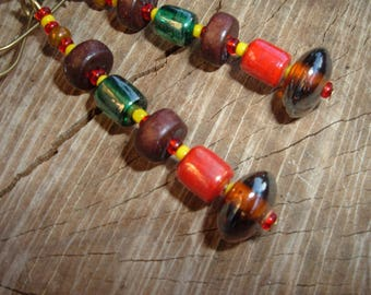 Color Masai molten glass and wood earrings