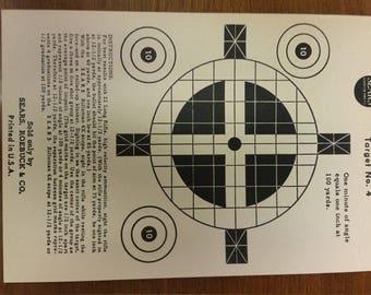 Vintage Sears Roebuck Co. Sighter Paper Hunting Target No. 4 Original