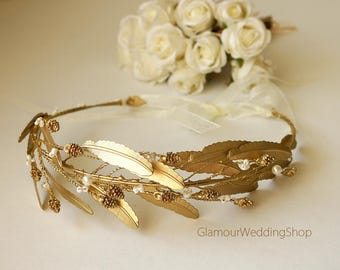 Gold Leaves Headband  Gold Leaf Bridal Headband Gold Tiara Gold Grecian Wedding Crown Gold Headpiece