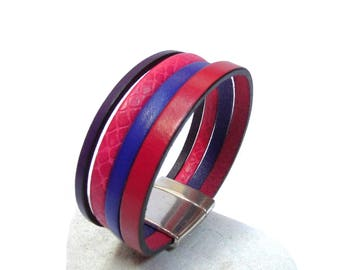 Fuschia Pink Purple Leather Cuff Bracelet