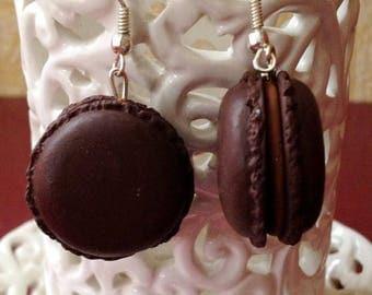 Chocolate macaroon earrings