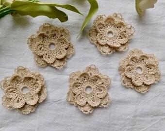 Hand Crocheted Ecru Flowers - Set Of 5
