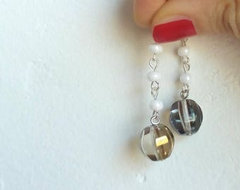 handmade earrings with glass Crystal beads and pearls/earrings