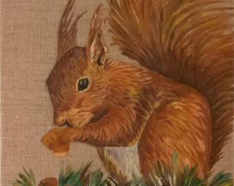 Oil on canvas - squirrel and nuts