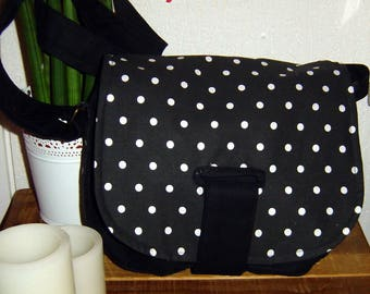 Black and fabric bag black with white polka dots