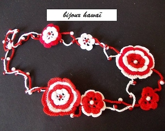 Necklace red and white cotton