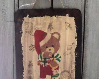 "Table decorative ""honey Christmas Elf"", imitation rusty and enamelled metal plate"