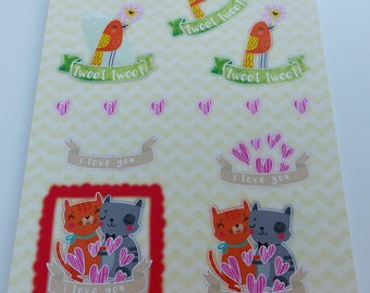 precut images A4 sheet to assemble for a 3D image effect childish cat heart love bird tweet
