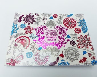 block of 20 postcards coloring flower nature theme
