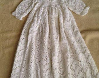 KNIT Christening Gown and Hat