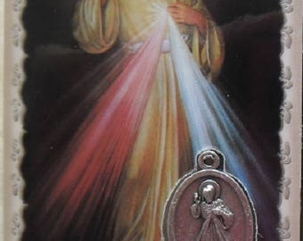 Card laminated medal Holy picture Merciful Jesus 8.5 cm x 5.4 cm