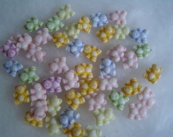 set of 10 beads mixed colors bears