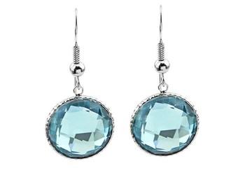 14K White Gold Handmade Gemstone Earrings With 16 MM Round Blue Topaz Gemstones