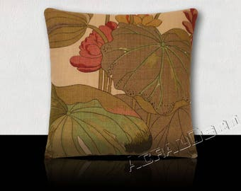 Water lilies design pillow Green Khaki, taupe, green, Lotus pink Orchid/plum on a beige background.