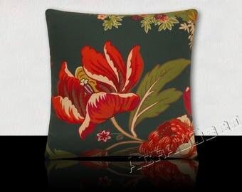 Pillow design peonies - Red Ruby, white, raspberry, green Emerald-foliage green kiwi olive green on teal background