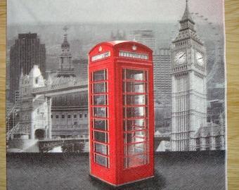 Napkin, British phone booth, 33 x 33, sold by 3, collage, scrapbooking, DIY, London Big Ben, Parliament