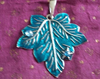 Blue resin and metal leaf pendant