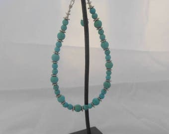 Bracelet Turquoise 6 mm and 4 mm 925 sterling silver chain