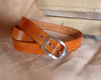 35 mm orange leather belt