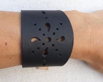 Perforated black leather bracelet