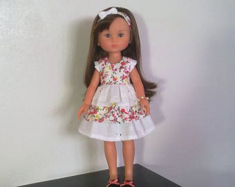 Flowered dress with ruffle and bow headband
