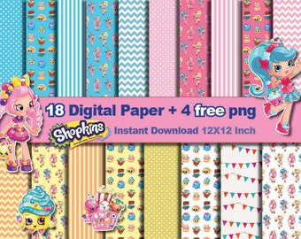 18 x Shopkins paper + 4 FREE PNG - Digital paper patterns - Scrapbooking Paper, Instant Download