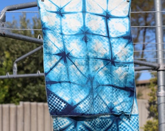 Hand-dyed Indigo Silk Scarf - Lines & Dots