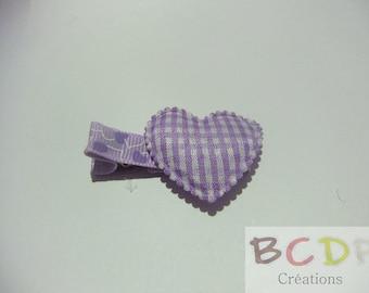 Purple clip with purple heart fabric