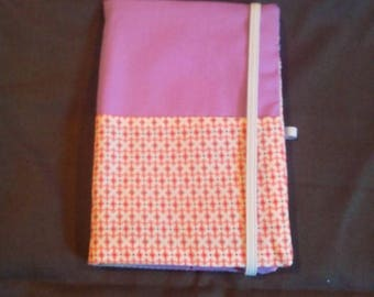 Cover purple notebook with pink and white pattern with book