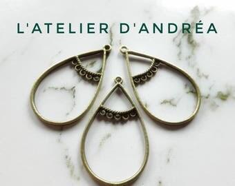 Set of 5 pendants/connectors in metal color bronze, shape Teardrop Openwork, 5 + 1 43 * 25 mm, hole 2 mm holes.