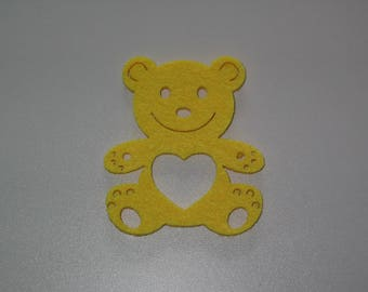 Yellow bear felt perforated for embellishment