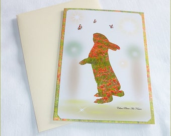 """Handmade """"Bunny poppy"""" double card 10.5x15cm from a photograph of a field of poppies"""