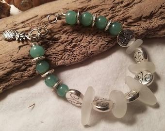 White Sea Glass Bracelet w/ Sea Foam/Silver Beads