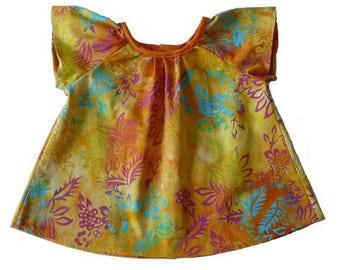 Short sleeves girl blouse, 6 months in orange batik cotton
