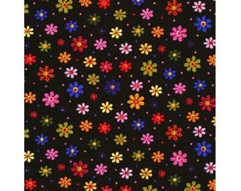 Black patchwork with flowers fabric multicolored ref6293pb