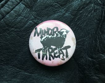 Vintage Bootleg 'Minor Threat' Button Pin