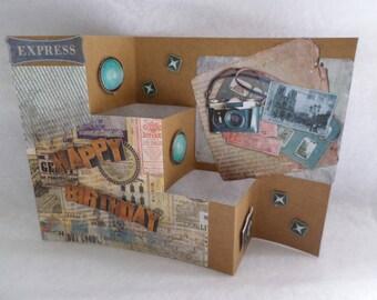 Happy birthday card, orginal theme folding travel photos