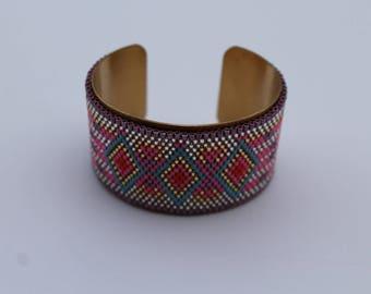 Indian inspired beadwork Bangle Bracelet