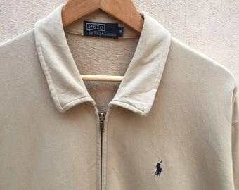 Vintage Polo Ralph Lauren Zip Sweatshirt Small Pony 90s M Size Rare Item