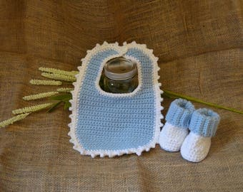 Blue Bib and Booties