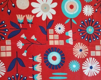 Retro Inspired Red Floral Cotton Fabric