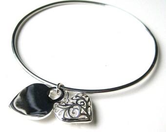 Silver plated heart N3405 Bangle Bracelet