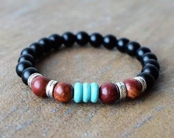 Men's Beaded Bracelets, Men's Bracelet, Men's Energy Bracelet, Black Onyx Bracelets, Picasso Jasper Beaded Bracelet, Turquoise Bracelet