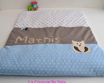Plaid baby blanket handmade linen Taupe and blue stars @lacouturebytitia OWL