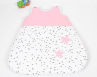 Sleeping bag sleeping bag 0-6 months handmade stars gray, white and pink stars @lacouturebytitia