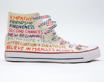 Custom Converse Words of Love Positive Affirmations Hand Stitched Embroidery on High Top Sneaker
