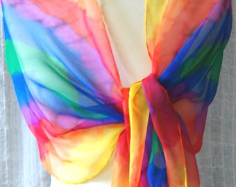 Chiffon scarf - Chorschal ZICK-ZACK in two variants - colours of the Rainbow