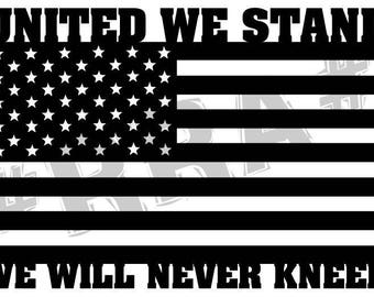 United we stand we will never kneel vinyl decal