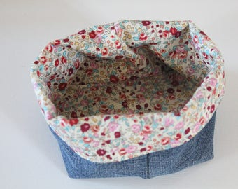 Small basket or bowl made in denim