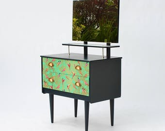 SOLD Upcycled Vintage Mirrored Chest of Drawers with Birds paper